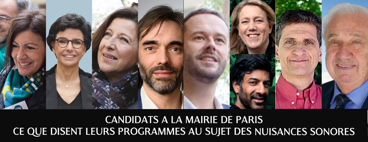 Programme des candidats à la mairie de Paris au sujet des nuisances sonores